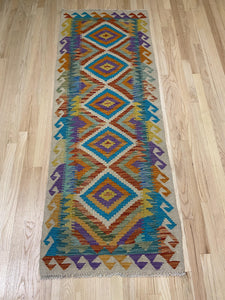 "Handmade Colorful Kilim Runner 2' 5"" x 6' 5"""
