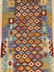 "Handmade Colorful Kilim Runner 2' 8"" x 6' 5"""