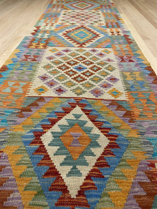 "Handmade Colorful Kilim Runner 2' 7"" x 9' 3"" - Shabahang Royal Carpet"