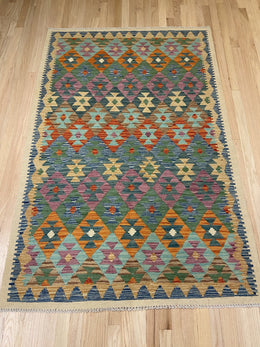 "Vintage Style Colorful Kilim 4' x 6' 2"" - Shabahang Royal Carpet"