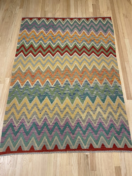 "Vintage Style Colorful Kilim 4' 4"" x 6' - Shabahang Royal Carpet"