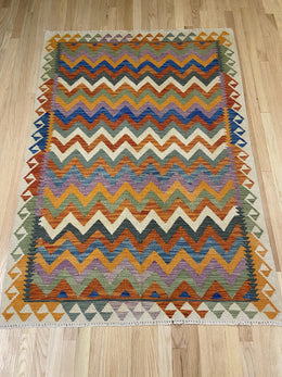 "Vintage Style Colorful Kilim 4' x 5' 9"" - Shabahang Royal Carpet"