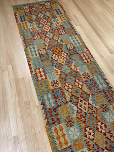 "Handmade Colorful Kilim Runner 3' x 10' 5"" - Shabahang Royal Carpet"