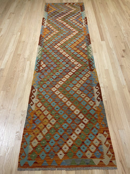 "Handmade Colorful Kilim Runner 2' 9"" x 10' 2"" - Shabahang Royal Carpet"