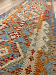 "Handmade Colorful Kilim Runner 3' x 9' 9"" - Shabahang Royal Carpet"