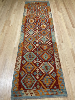 Handmade Colorful Kilim Runner 3' x 10' - Shabahang Royal Carpet