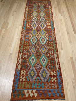 "Handmade Colorful Kilim Runner 2' 10"" x 9' 10"" - Shabahang Royal Carpet"