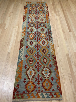 "Handmade Colorful Kilim Runner 2' 7"" x 10' 1"" - Shabahang Royal Carpet"
