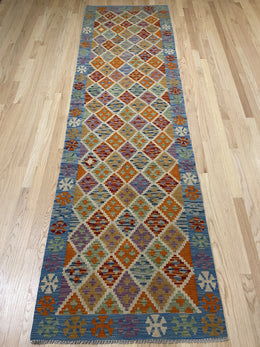 "Handmade Colorful Kilim Runner 2' 10"" x 9' 9"" - Shabahang Royal Carpet"