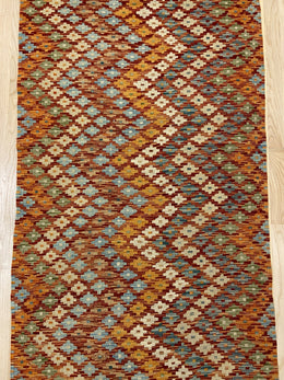 "Handmade Colorful Kilim Runner 3' x 10' 2"" - Shabahang Royal Carpet"