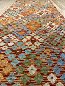 "Handmade Colorful Kilim Runner 3' 2"" x 9' 11"" - Shabahang Royal Carpet"