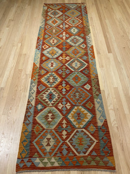 "Handmade Colorful Kilim Runner 3' x 9' 11"" - Shabahang Royal Carpet"