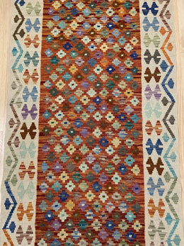 "Handmade Colorful Kilim Runner 3' x 9' 6"" - Shabahang Royal Carpet"
