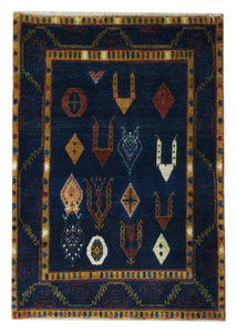 "Persian Gabbeh 3' 3"" x 4' 8"" Wool Handmade Area Rug - Shabahang Royal Carpet"