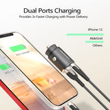 AbleGrid Car Charger, 30W USB-C+USB-A Tiny PD Car Charger, Quick Charger with Blue LED for iPhone12