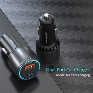 63W USB C High-speed Car Charger, AbleGrid 63W Total PD PPS Car Charger, 45W + 18W QC3.0 Dual Ports