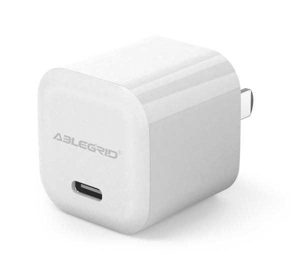 iPhone 12 Charger, 20W USB-C Power Wall Chargr, AbleGrid Mini PD Type C Fast Charger, Ultra Compact USB C Wall Charger Compatible with iPhone 12, 12 Mini, 12 Pro Max, iPad Pro, AirPods Pro, Pixel 3-White
