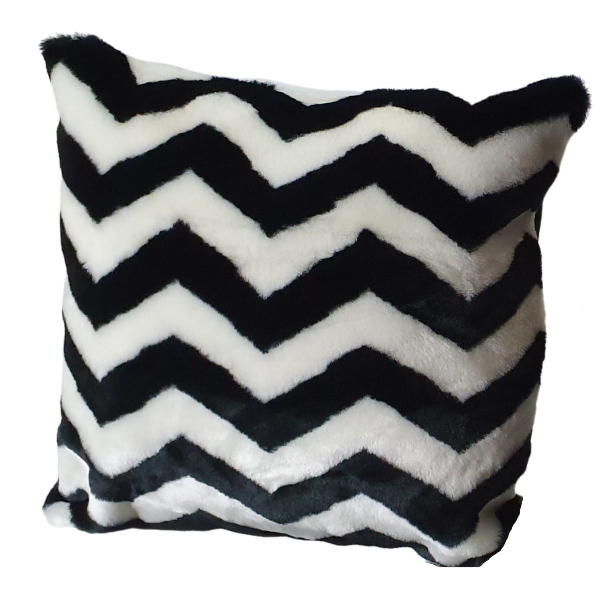Faux fur cushion black and white