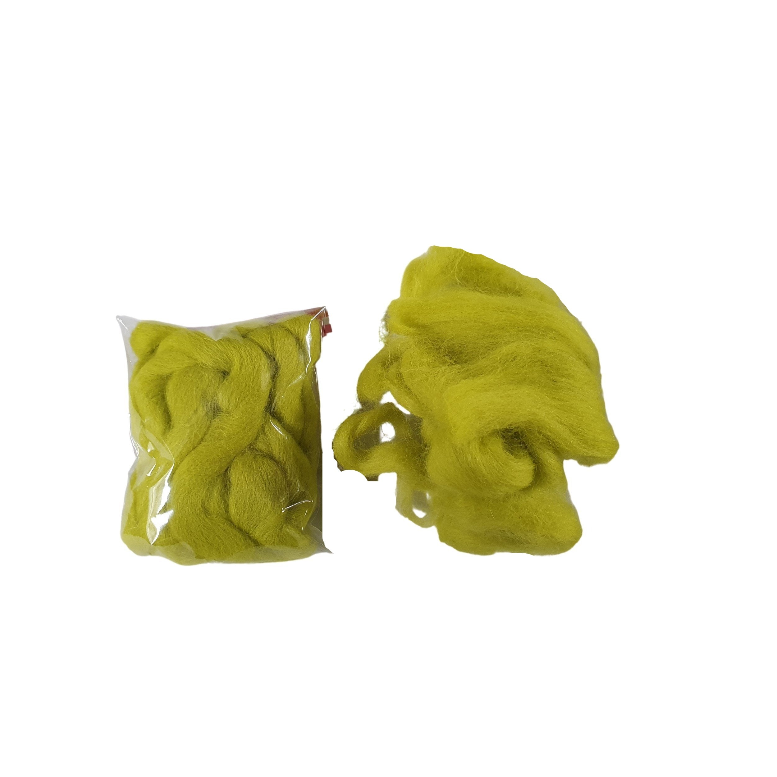 chartreuse green wool rovings