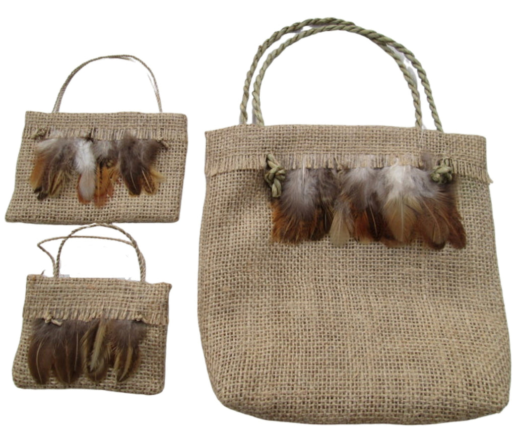 natural hessian kete with feathers and looking like potato sacking