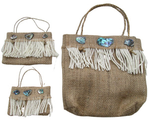 Hessian Kete with Wool and Paua