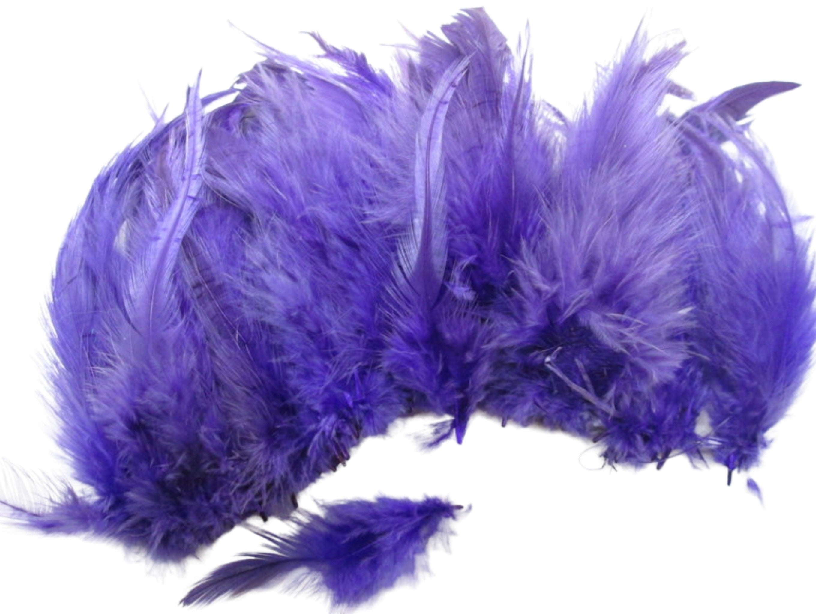 Purple rooster feathers, Strung