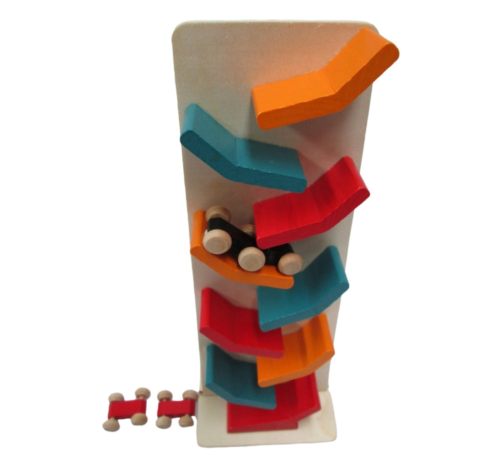 Kids racing car set marble drop