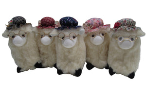 Romney Sheep with Fabric Hat & Glasses