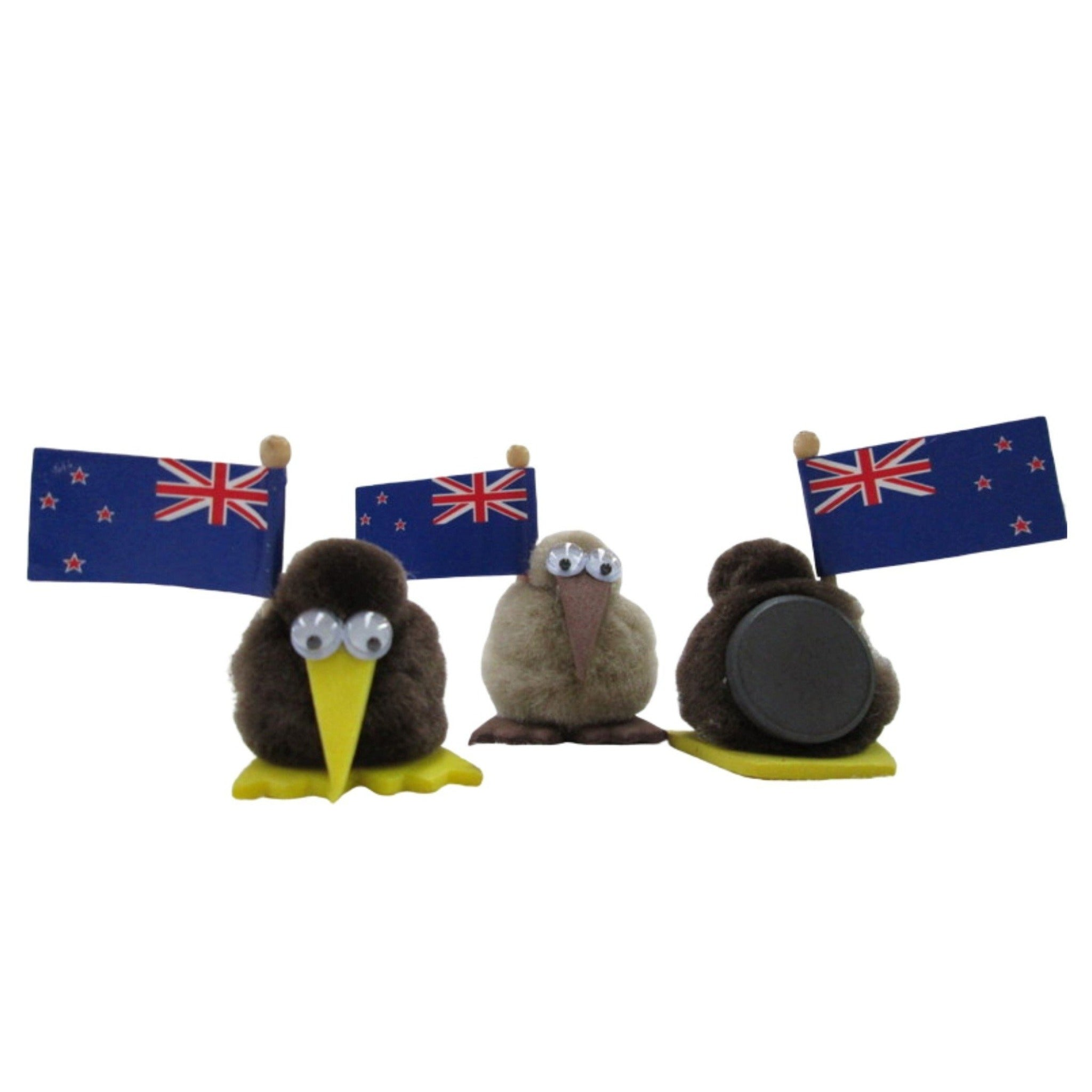 Kiwi magnet with flag small