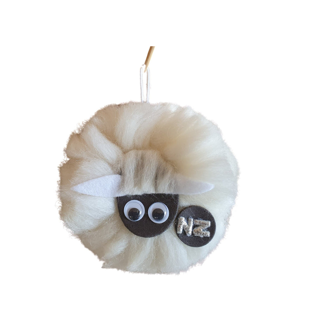 Woollen pompom toy sheep
