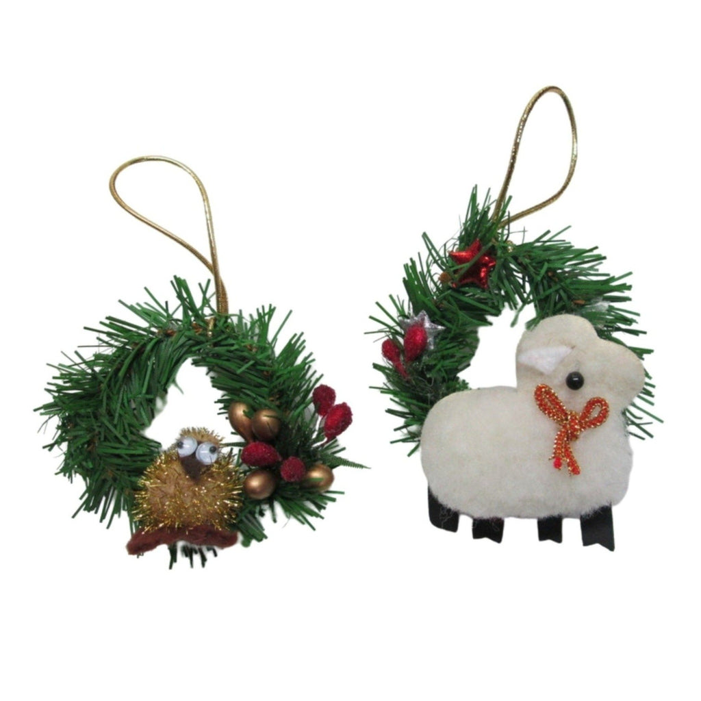 Sheep and Kiwi Christmas decoration on wreath