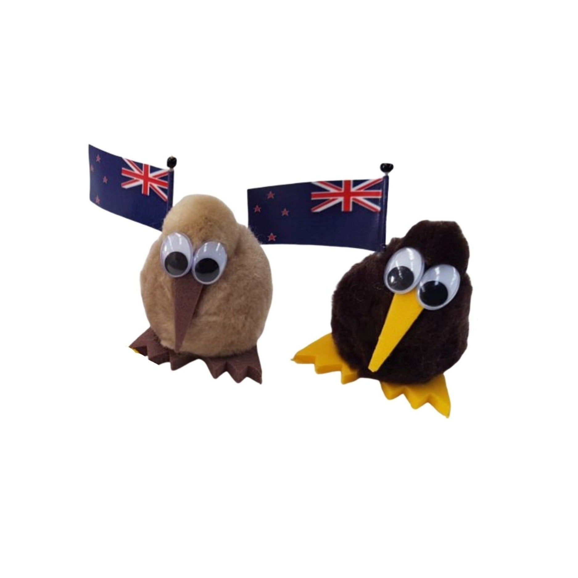 Fluffy magnet kiwi with NZ flag