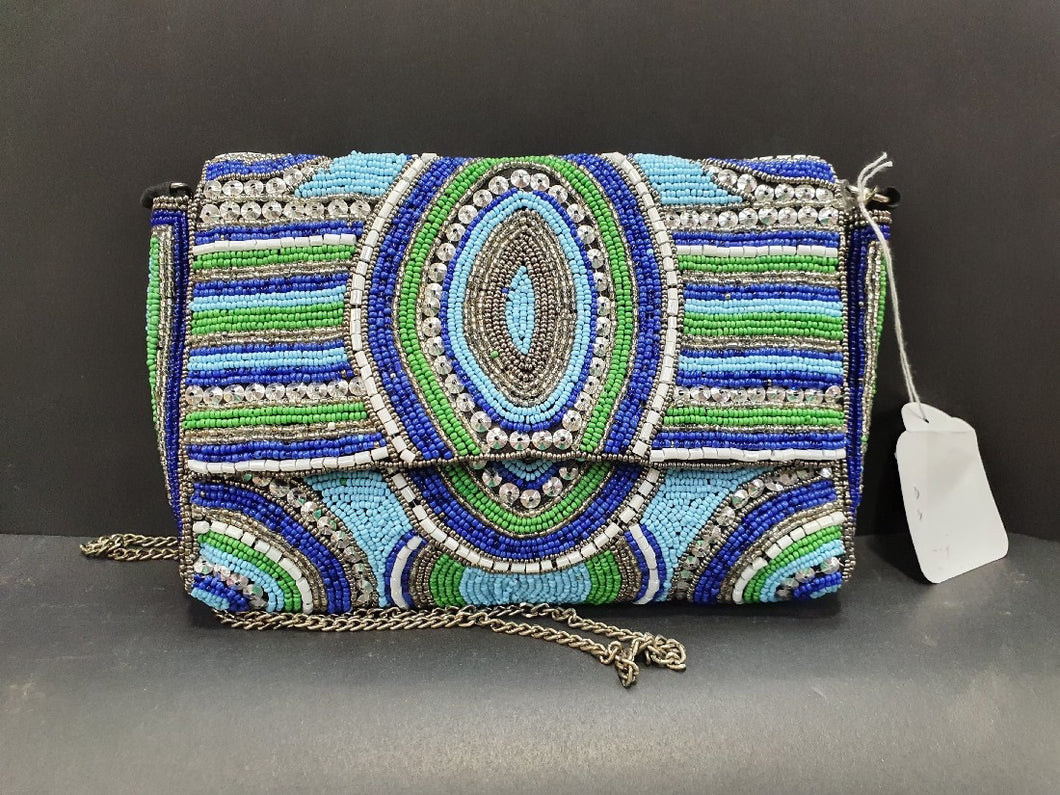 KIAMA BEADED FOLDOVER CLUTCH