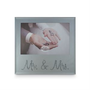 MR & MRS SILVER TEXT PHOTO FRAME 6X4