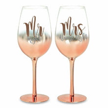 Load image into Gallery viewer, MR & MRS ROSE GOLD OMBRE CHAMPAGNE GLASSES