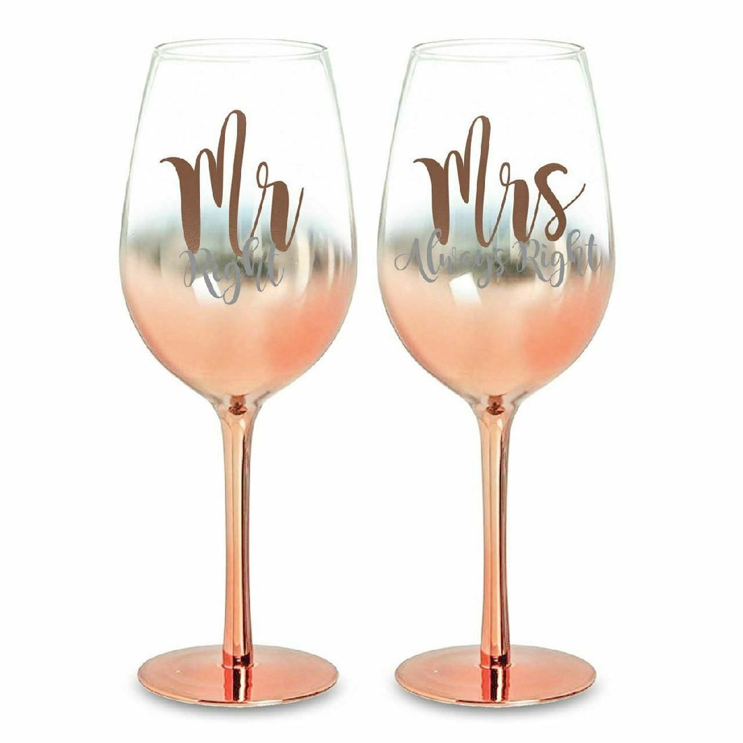 MR & MRS ROSE GOLD OMBRE CHAMPAGNE GLASSES