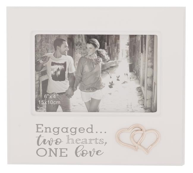 SILVER ICON PHOTO FRAME ENGAGED 6X4