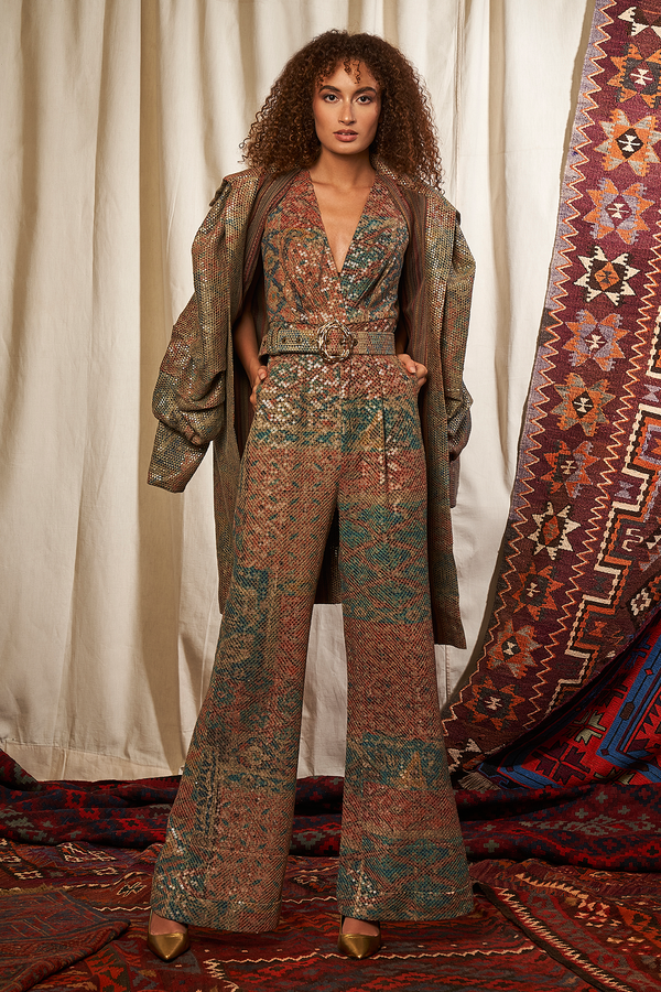 CARPET PRINT SEQUINNED JUMPSUIT WITH BELT