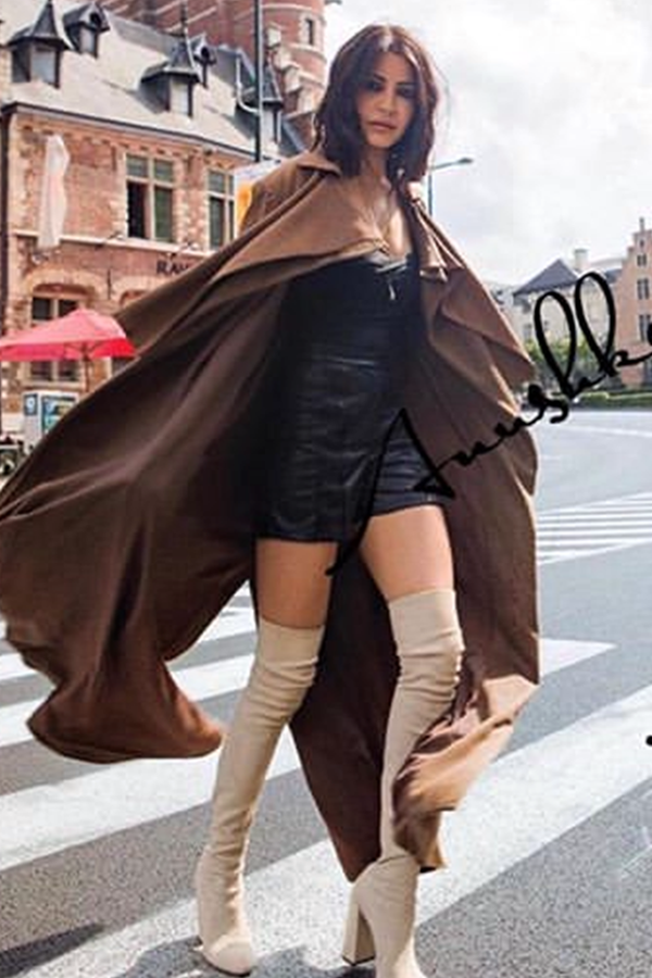 Anushka Sharma In Dark Tan Flat Knit Trench Coat