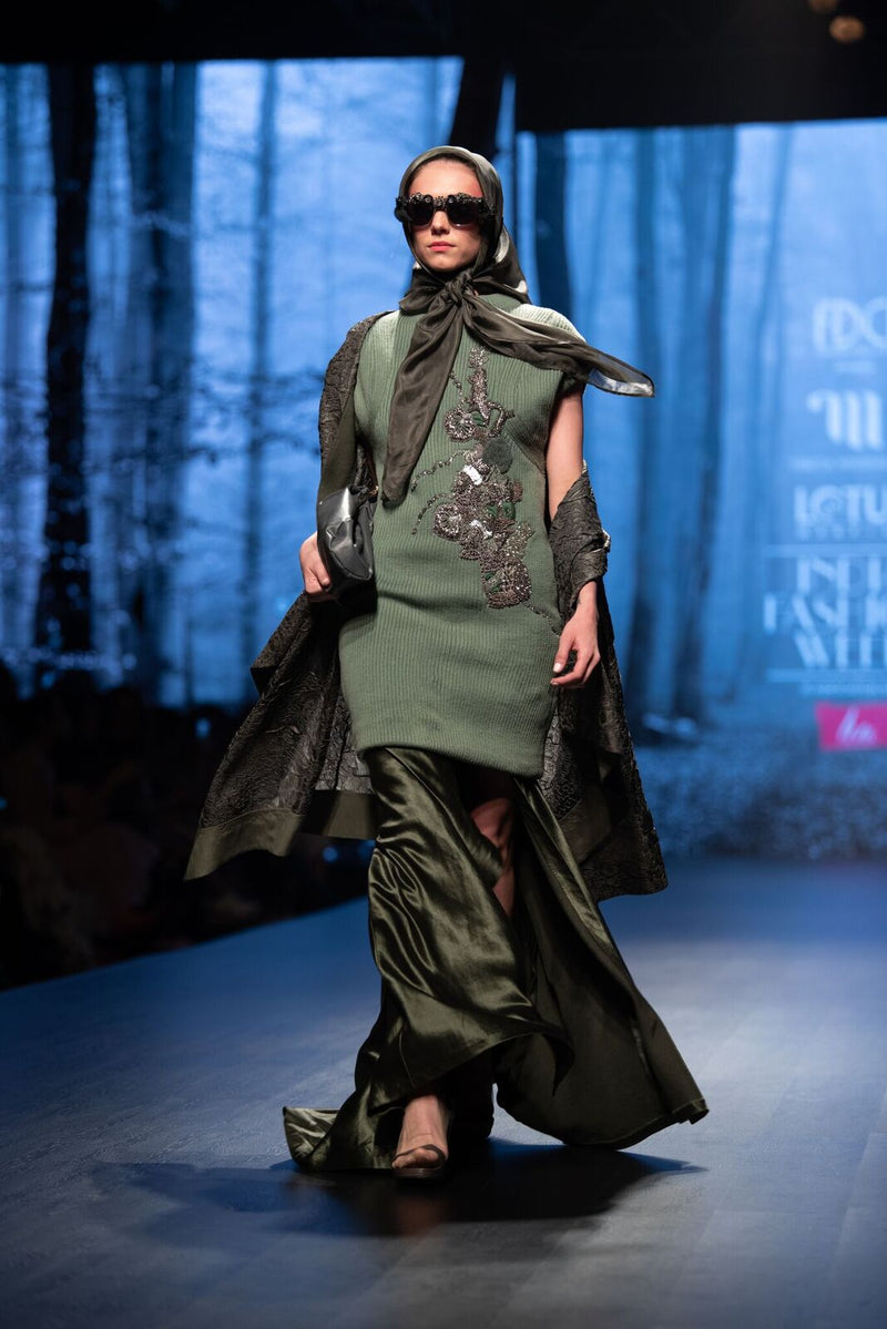 Olive Green Blanket Coat With Tie Sash