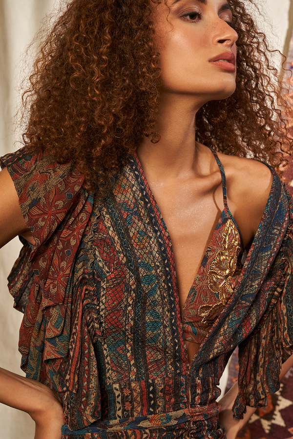 CARPET PRINT BRALETTE WITH BAROQUE HANDWORK