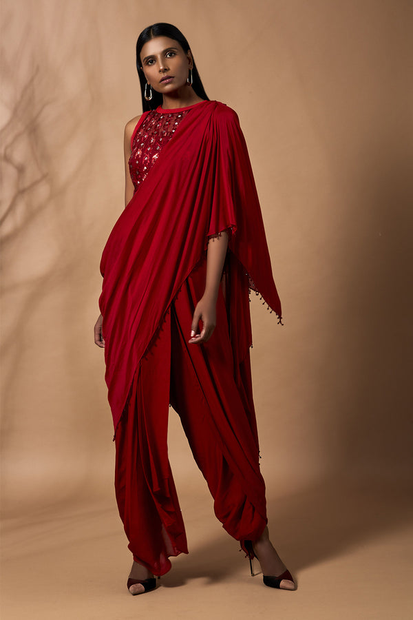 Red Saree Jumpsuit With Baadla & Bead Handwork