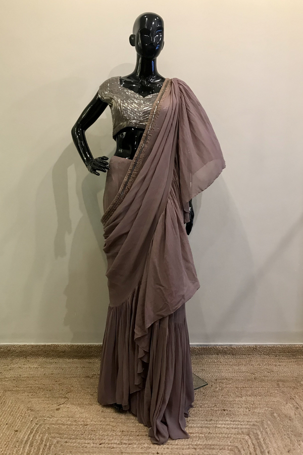 Mauve Ruffled Saree With Pewter Handwork Blouse
