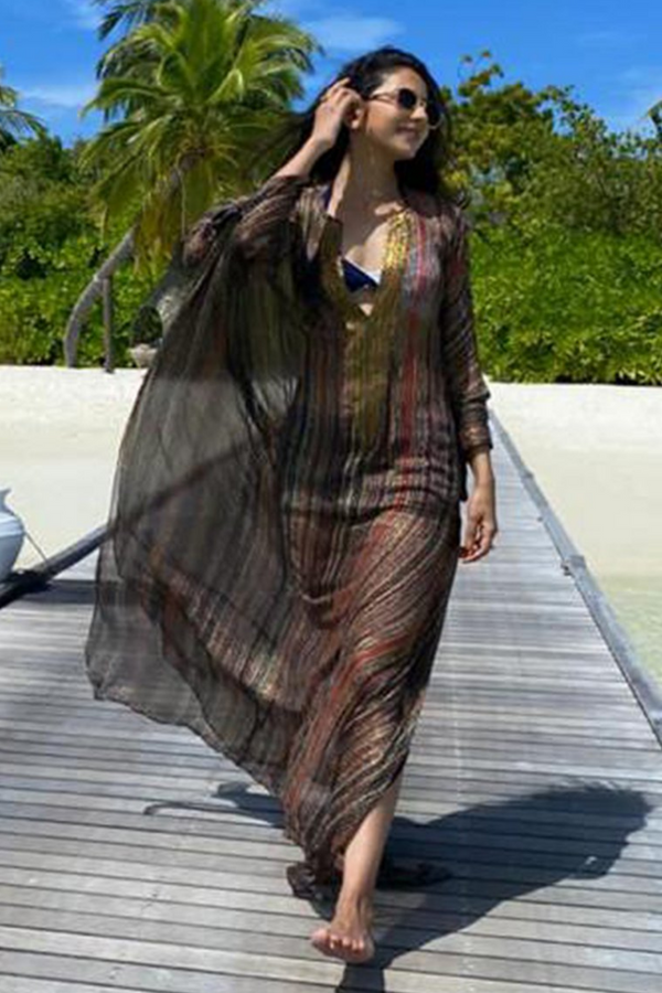 Rakul Preet In Stripes Print Kaftan With Embellished Neck