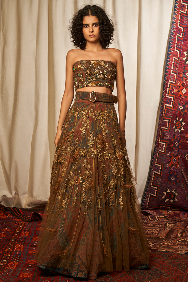BROWN TUBE & LEHNGA WITH BAROQUE HANDWORK & BELT