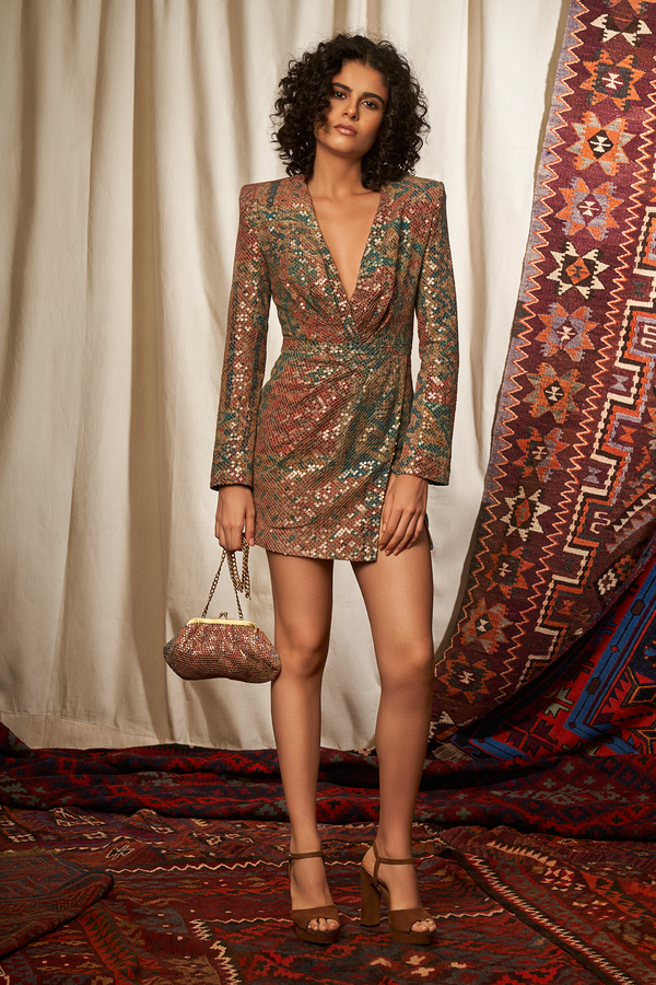 Carpet Print Sequined Short Dress