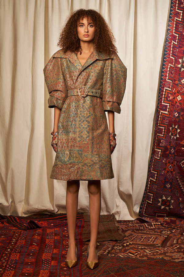 CARPET PRINT SEQUINNED JACKET DRESS WITH BELT