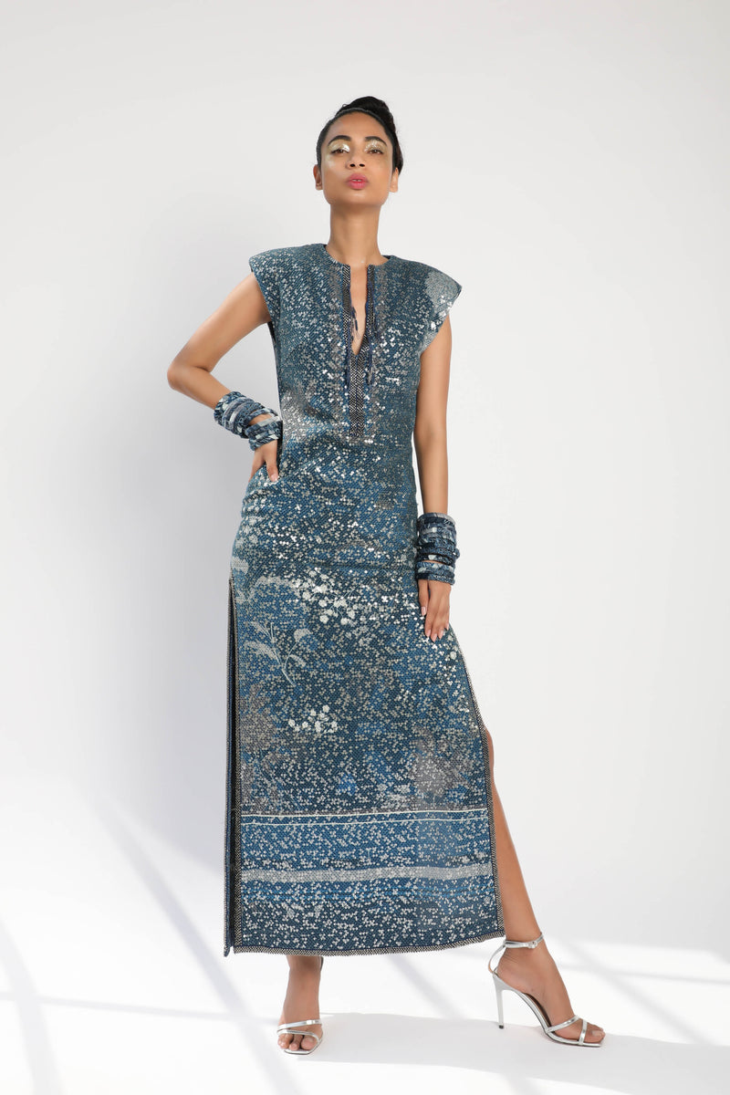 Indigo Blue Floral Sheeted Side Slit Dress