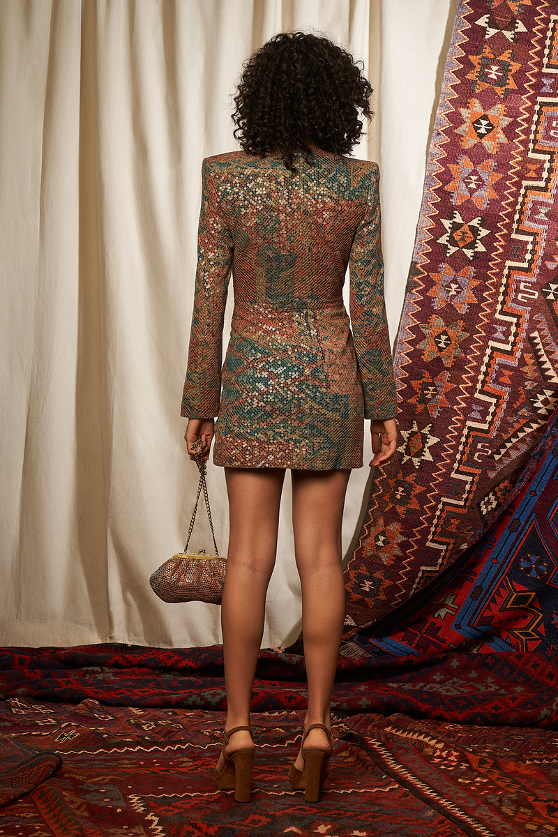 CARPET PRINT SEQUINNED SHORT DRESS