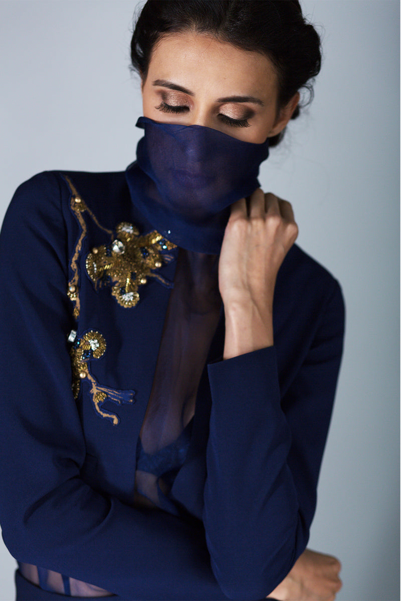 NAVY BLUE COWL NECK BODYSUIT, PANTS & CROP JACKET WITH GOLD HANDWORK